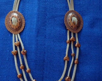 Vintage White Suede Leather Concho Necklace,Vintage Copper Necklace,Southwest Necklace,Western Necklace,Cowgirl Jewelry