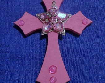 Wooden Cross Magnet,Pink Cross Magnet,Handmade Wood Cross,Refrigerator Magnet,Wooden Cross Decoration