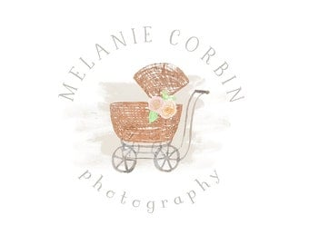 Watercolor Business Logo -  Watermark Business Logo - Baby Carriage, Newborn, Drawn, Artistic, Rose gold, Simple, Flowers, Photography