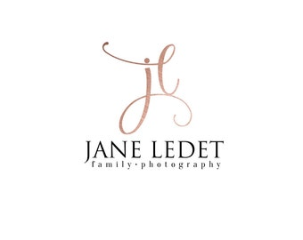 Pre-made business logo - JANE LEDET - photography logo - rose gold - calligraphy - signature logo - professional logo