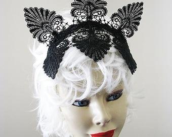 Black Lace Crown 1920s Gatsby inspired Flapper Fascinator Burlesque Headpiece Tiara Headband Horseracing Races