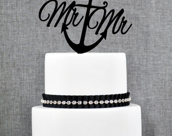 Nautical Same Sex Mr and Mr Cake Topper with Anchor – Nautical Wedding Cake Topper Available in 15 Colors and 6 Glitter Options- (T229)