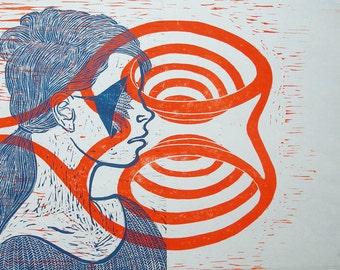 Woodcut // Woodblock print  //  13'' x 19 '' // wit neon orange ink
