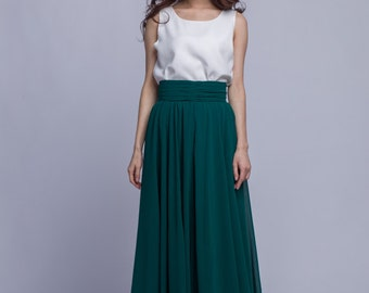High Waist Chiffon Maxi Skirts Women Pleated Waist Long Skirt