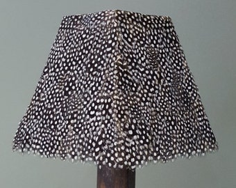 GUINEA fowl TAPERED SQUARE feather lampshade light shade. Real feathers