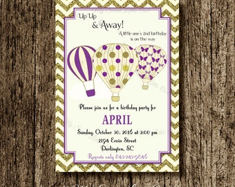 Hot air balloon invitation - balloon printable - balloon invite - balloon birthday - hot air balloon baby shower - purple hot air balloon