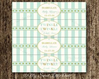 Twinkle twinkle water labels - twinkle birthday - star printable - gold mint  twinkle twinkle - mint twinkle label - gold star water label