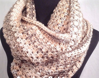 Crochet Pattern - Oatmeal Striped Infinity Crochet Scarf