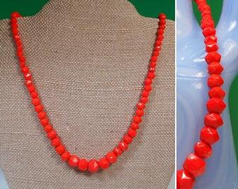 Bright Orange Beaded Necklace