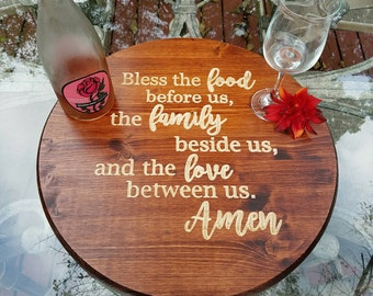 Lazy Susan - Table Decor - Bless the food before us - Rustic Kitchen Decor - Housewarming - New Home Gift - Hostess Gift