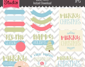 Christmas Greetings Clipart // Christmas Sayings // Holiday Greetings Clipart - Winter125