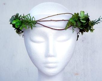 Green leaf flower Crown, Floral Headband,wedding headpiece, hair wreath,  festival