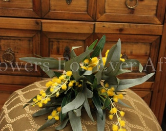 Ida - Wattle Silk Bridesmaid Posy, Silk Eucalyptus Australian native rustic wattle and gum bouquet