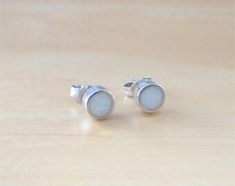 925 Silver White Opal Stud Earrings/White Opal Jewelry/White Opal Jewellery/Opal Jewelery/Opal Studs/Opal Earrings/October Birthstone/6mm