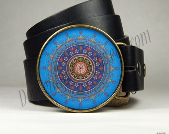 Belt Buckle Blue Mandala Belt Buckle Choice of Buckle Finish Mandala Art Womens Clothing Round Buckle Girlfriend Gift Birthday Gift