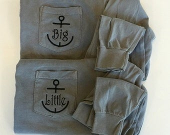 Big Little Sorority Reveal Shirts With Anchors - Long Sleeve - Comfort Colors