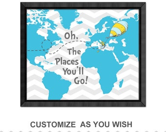 oh the places you will go map hot air balloon dr seuss oh the places nursery map print world map nursery adventure nursery dr seuss quote