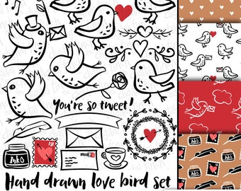 snail mail love birds clip art images - bird clipart with coordinating backgrounds - instant download - royalty free - small commercial use