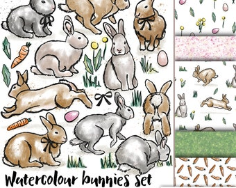 Bunny clip art - watercolor rabbit clipart with coordinating backgrounds - instant download - royalty free -commercial use