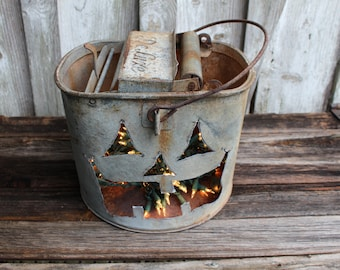 Vintage Galvanized Mop Bucket Pumpkin Jack O Lantern Light,gift,fall,rustic home decor,metal,decoration,creative,repurposed halloween,rustic