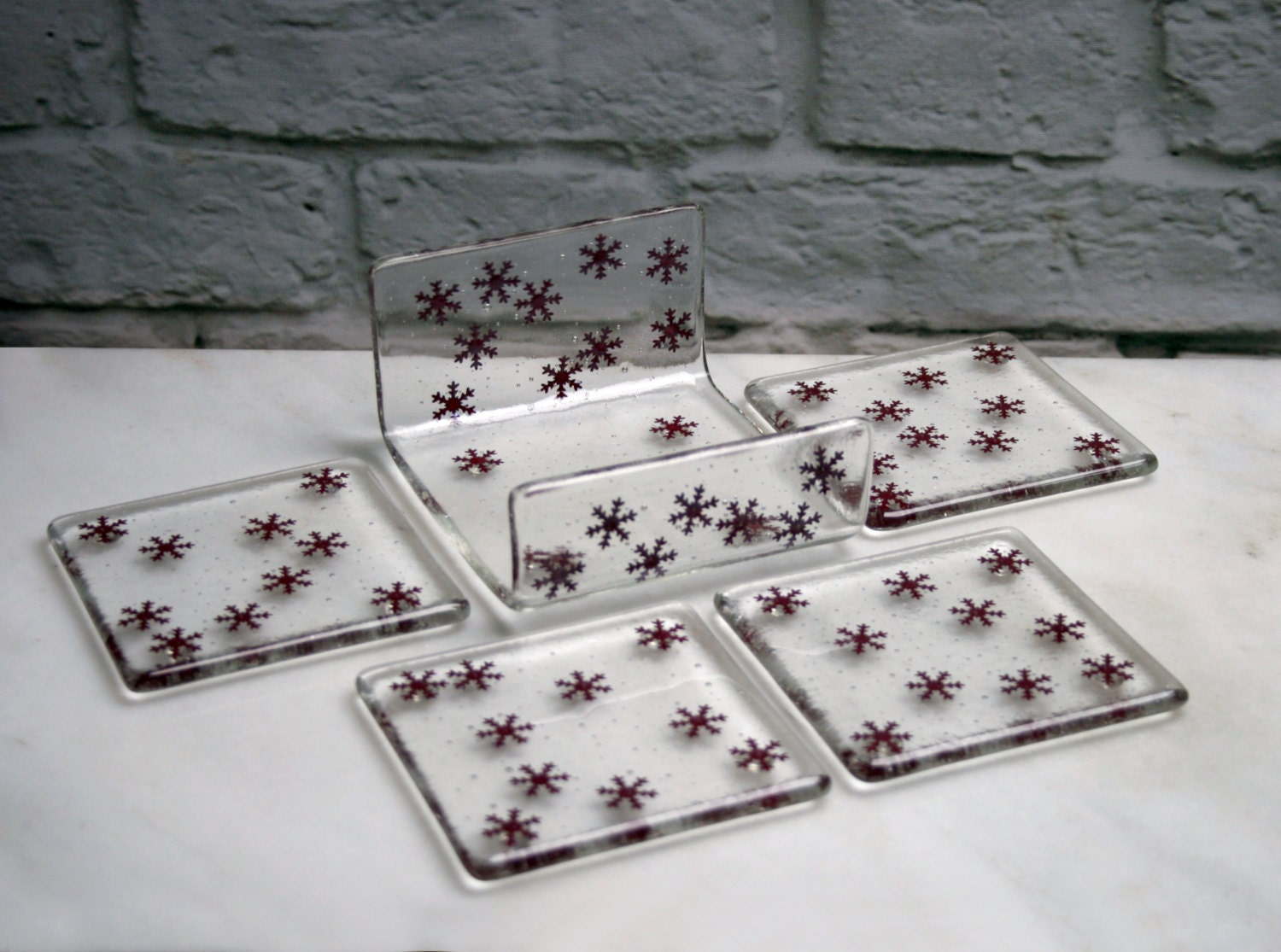 holder for my fused glass winter coasters 39 copper. Black Bedroom Furniture Sets. Home Design Ideas
