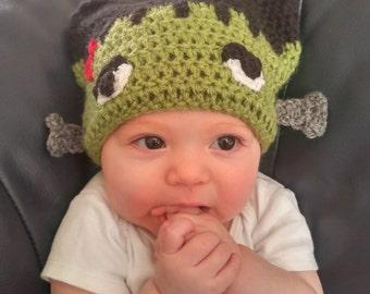 Crochet Frankenstein Hat Beanie|Halloween Hat|Costume|Character Hat