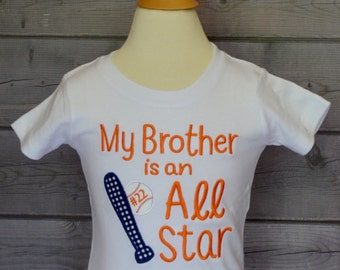 Personalized My Brother is an All Star Baseball Applique Shirt or Onesie Girl