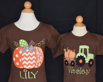 Personalized Pumpkin or Tractor with Pumpkins Applique Shirt or Onesie for Boy or Girl