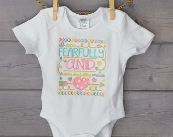 Personalized I am Fearfully and Wonderfully made with Arrows  Applique Shirt or Onesie Girl or Boy