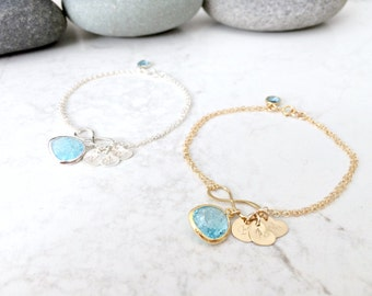Personalized Aquamarine bracelet heart Bracelet monogram jewelry Infinity Bracelet Mothers Birthstone Bracelet march birthstone aquamarine