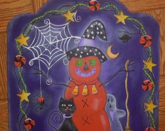 Halloween Sign with Pumpkin, Black Cat, Ghost, Broom, Batt, Halloween Candy, Stars, Garland, Spider, Halloween Decor, Primitive, Fall Decor
