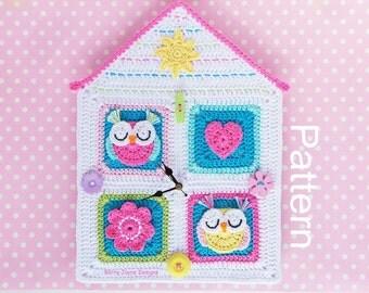 OWL HOUSE CROCHET Pattern, Crochet Clock Pattern, Crochet Owl Clock, Crochet Owl pattern Owl crochet pattern Sun crochet pattern Flower Pdf