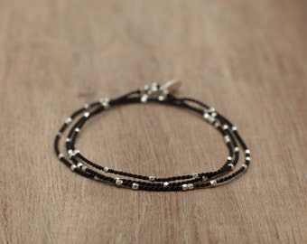 Delicate triple wrap beaded bracelet pure silver beads and sterling silver tag on 100% pure silk