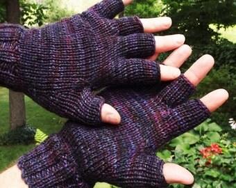 Half Finger Gloves Men's Handknit Dark Purple Black Hand-Painted Merino Wool & Nylon Half Finger Gloves Deep Purple Men's Handwarmers Gloves