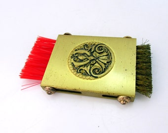 Compact Clothes Brush Purse Size Brush Art Nouveau Engraved Center On Gold Tone Metal Mid Century Vintage Collectible Gift  Item 2106