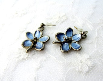 Blue Daisy Earrings Post Back Steel Blue Metal Floral Minimalist Style Vintage Collectible Gift Item 2174