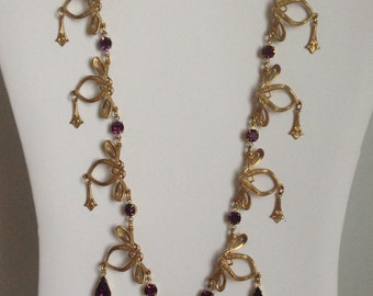 Vintage Victorian Edwardian Gold Tone Metal with Amethyst Glass Stones Festoon Necklace