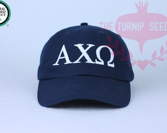 Alpha Chi Omega Greek Only Sorority Baseball Cap - Custom Color Hat and Embroidery.
