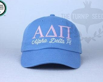 Alpha Delta Pi Sorority Baseball Cap - Custom Color Hat and Embroidery.