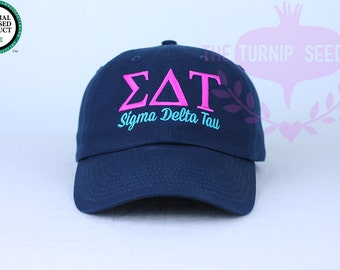 Sigma Delta Tau Sorority Baseball Cap - Custom Color Hat and Embroidery.
