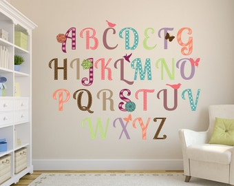 26 pcs Alphabet GIRLS Nursery Collection ABCs Wall Decals Lowercase & Uppercase Letters Numbers Set Children Safe Fabric or Vinyl
