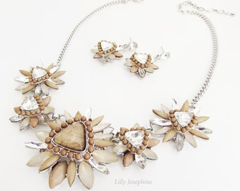 Necklace and Earrings, Beige and Brown Flower Design Necklace and Earrings, Taupe Necklace Set, Costume Jewelry Set, Mother of the Bride