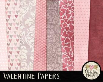 Love Digital Scrapbook Paper Pack - Shabby Valentine Digital Scrapbook Background Papers in Romantic Love Heart Theme