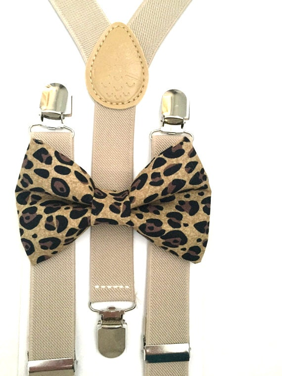 Tan Suspenders and Cheetah Bow Tie