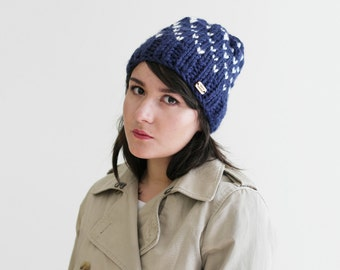 Women's Gift -  Winter Fair Isle Knit Hat - Slouchy Hat - Chunky Knitted Beanie - Fall Hat in Navy and Snow White | The Constellation Hat |