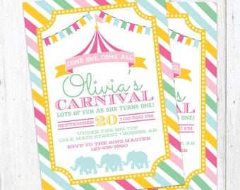 Carnival Printable Birthday Party Invitation