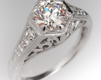 Old European Cut Diamond Ring - Old Euro Diamond Engagement Ring - 1 Carat Diamond - Filigree - CN10975