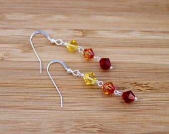 Swarovski earrings, Makeforgood, silver earrings, swarovski crystal, sterling silver earrings, rainbow earrings, swarovski, red earrings