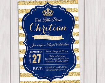 Prince baby shower invitation royal blue gold baby shower prince birthday invitation royal blue gold invite crown gold glitter little prince stopboris Image collections