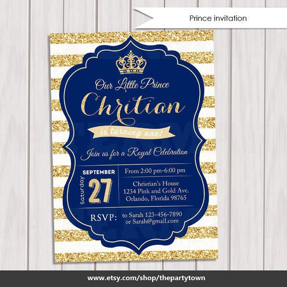 Prince birthday invitation royal blue gold invite crown gold il570xn filmwisefo